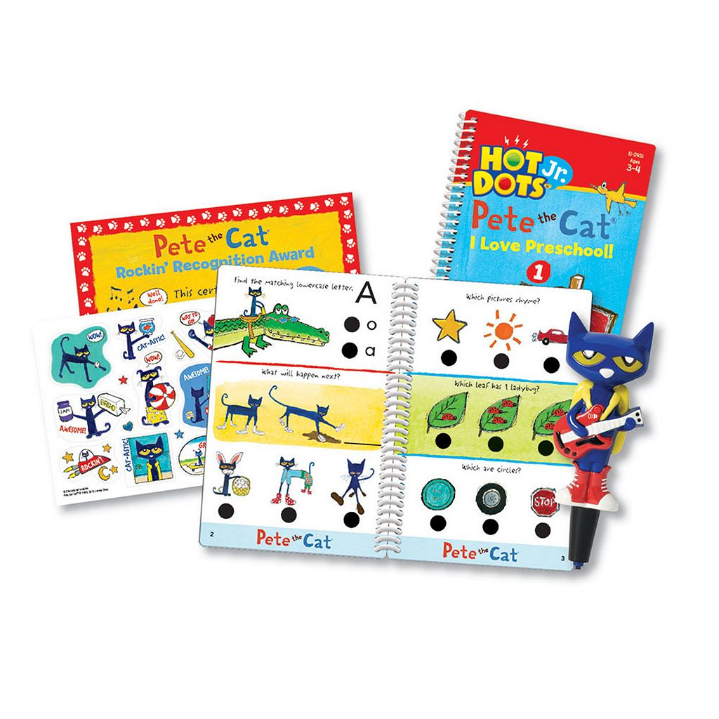 Educational Insights Hot Dots Jr. Pete the Cat Preschool Level 1 Activity Book & Talking Pen Set