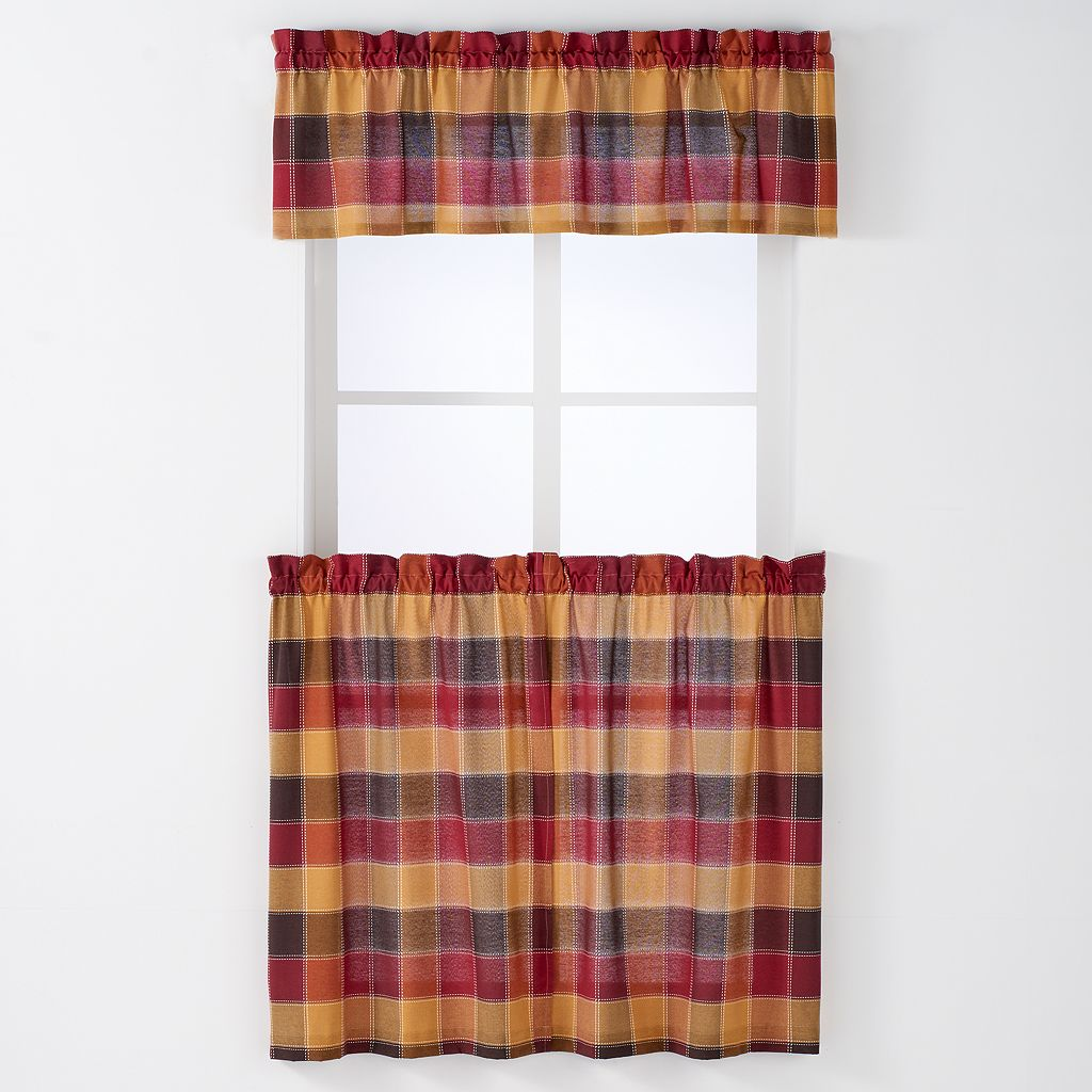 Arlee 3-pc. Harris Plaid Woven Rod Pocket Curtain and Valance Set