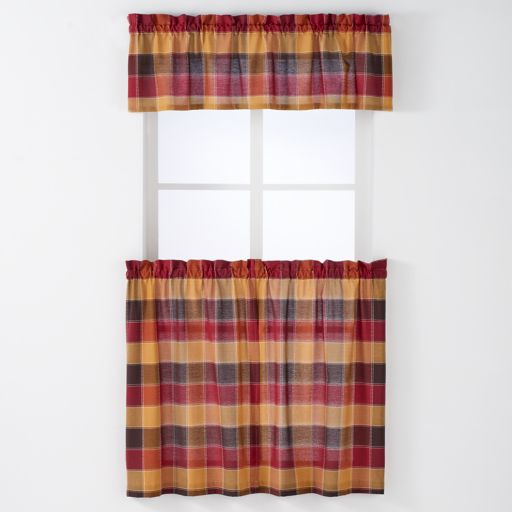Arlee 3-piece Harris Plaid Woven Rod Pocket Window Curtain & Valance Set
