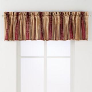 Arlee 2-pk. Tuscan Stripe Scroll Jacquard Rod Pocket Window Valances - 24'' x 54''