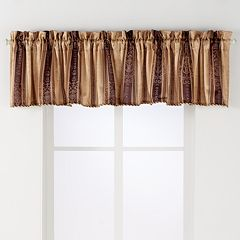 Arlee 2-pk. Tuscan Stripe Scroll Jacquard Rod Pocket Window Valances - 24'' x 54''