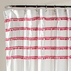 Lush Decor Aria Pom Shower Curtain