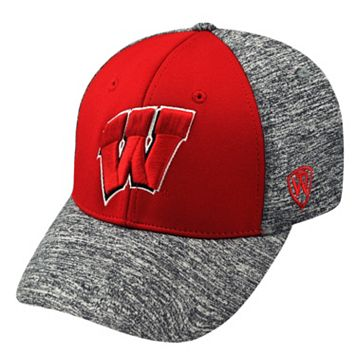 Adult Top of the World Wisconsin Badgers Pressure One-Fit Cap