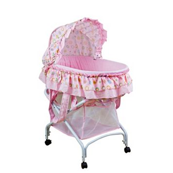 Dream On Me Layla Pink 2-in-1 Portable Bassinet Cradle