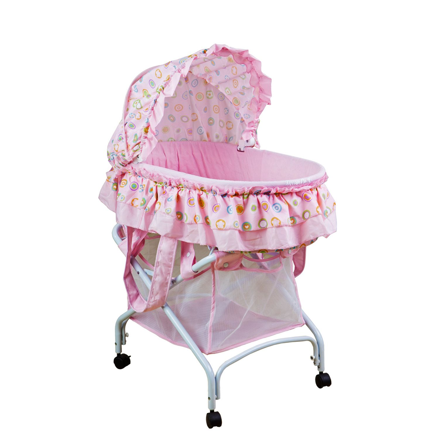 Beautiful Dream On Me Layla Pink 2 In 1 Portable Bassinet Cradle