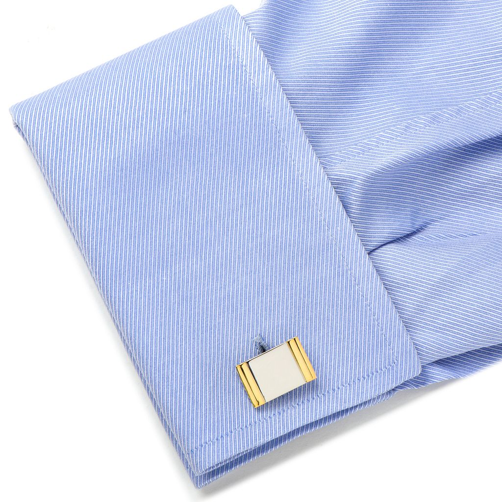 Two Tone Framed Rectangle Cuff Links