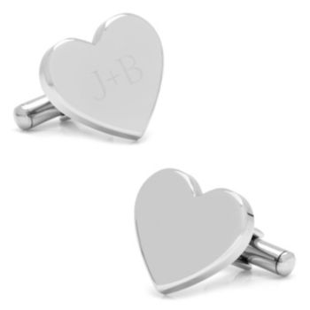 Stainless Steel Heart Engravable Cuff Links