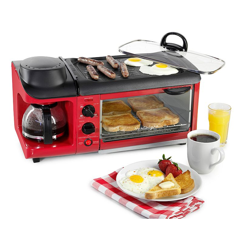 Nostalgia Electrics Retro Series 3-in-1 Breakfast Station, Red Make a complete homemade breakfast all in one place, thanks to this Nostalgia Electrics 3-in-1 breakfast station. Nonstick griddle cooks eggs or meat effortlessly. Lid locks in heat and moisture. Multi-function toaster oven bakes, toasts and reheats food. Coffee maker brews coffee quickly and efficiently. Timer with automatic shutoff provides convenience. Cool-touch exterior ensures safety. Removable oven tray and nonstick griddle make cleanup a breeze. Retro design creates a fun, unique look. WHAT'S INCLUDED 4-cup carafe Metal, plastic, glass Breakfast station: wipe clean Removable parts: hand wash Manufacturer's 1-year limited warrantyFor warranty information please click here 12 H x 19 W x 12 D 4-slice toast capacity 1500 watts Model no. BSET300RETRORED  Size: One Size. Gender: unisex. Age Group: adult.
