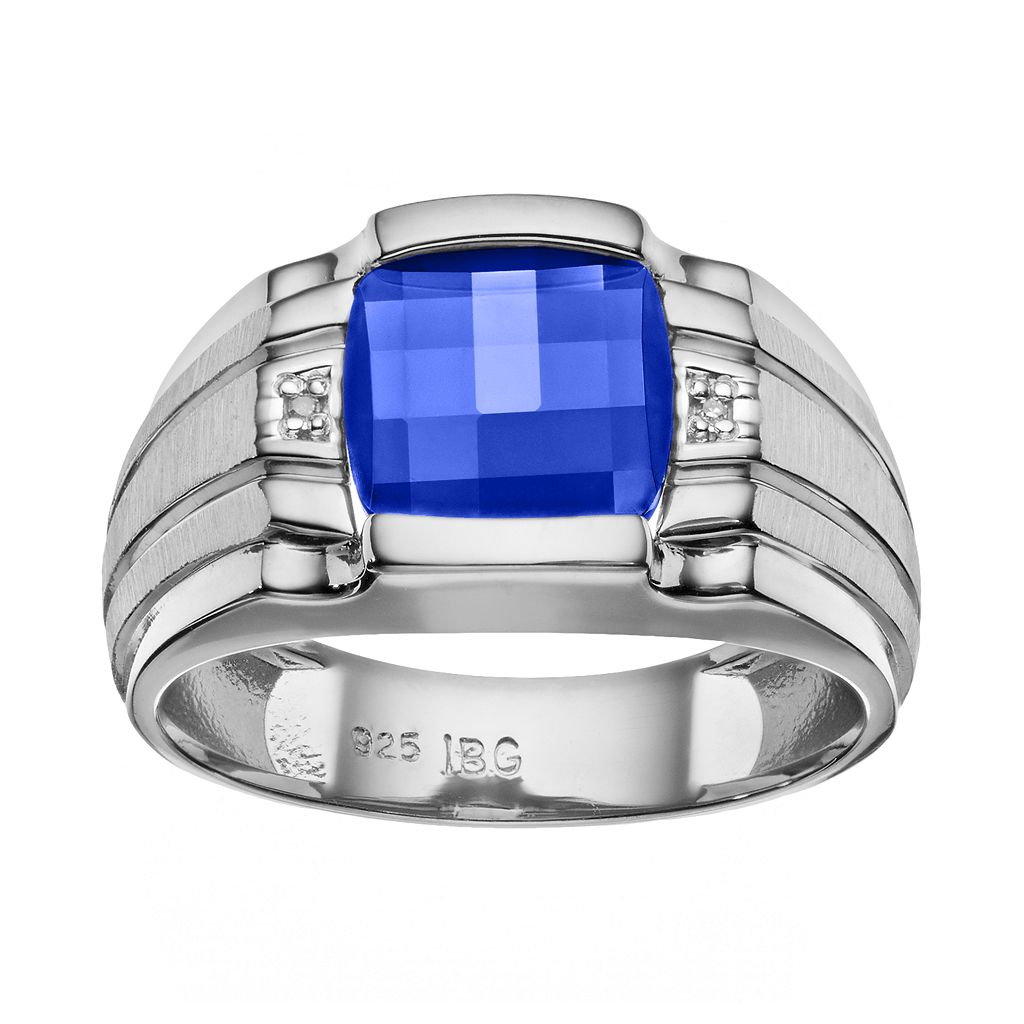 Men's Lab-Created Sapphire & Diamond Accent Sterling Silver Ring