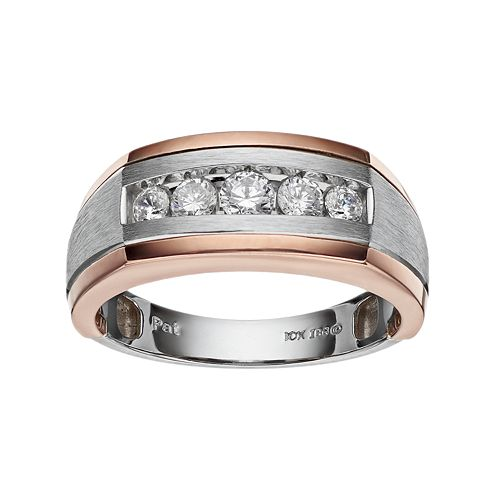 Men's Two Tone 10k Gold 1/2 Carat T.W. Diamond Wedding Band