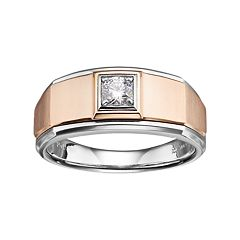Men's Two Tone 10k Gold 1/4 Carat T.W. Diamond Wedding Band
