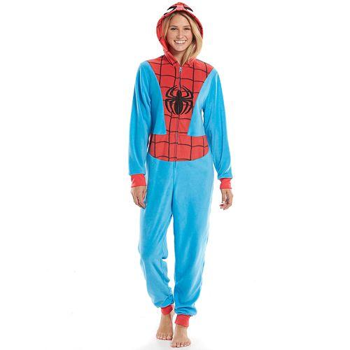 734dedd208ed Marvel Spider-Man Hooded Microfleece One-Piece Pajamas - Juniors