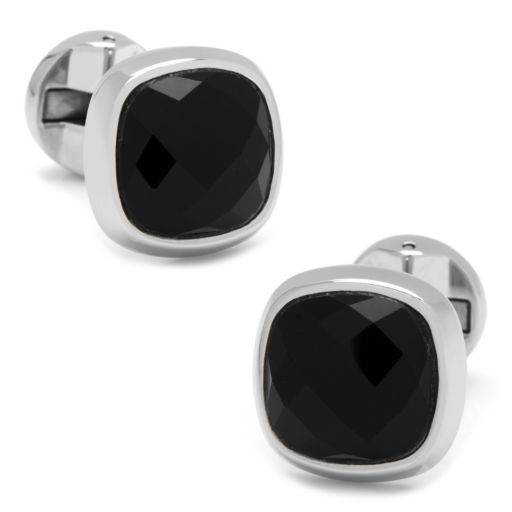 Faceted Onyx Cushion Cuff Links