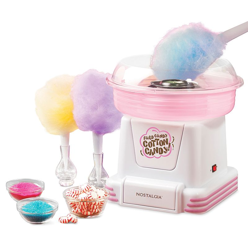 Nostalgia Electrics Cotton Candy Maker Create fluffy, melt-in-your-mouth cotton candy with this Nostalgia Electrics cotton candy maker. Center receptacle spins candies or flossing sugar for tasty results. Translucent bowl and clear rim lets you monitor the cotton candy making process. Reusable cotton candy cones are perfect for enjoying your treats. Compact design saves on countertop space. WHAT'S INCLUDED Two cones 1-tbsp. measuring scoop Metal, plastic Base: wipe clean Removable parts: hand wash Manufacturer's 1-year limited warrantyFor warranty information please click here 12 H x 11 W x 11 D 450 watts Model no. PCM805  Size: One Size. Color: Multicolor. Gender: unisex. Age Group: adult. Material: Plastic/Cotton.