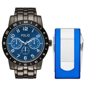 Folio Men's Chronograph Watch & Multi Tool Money Clip Set