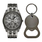 Folio Men's Chronograph Watch & Bottle Opener Key Chain Set