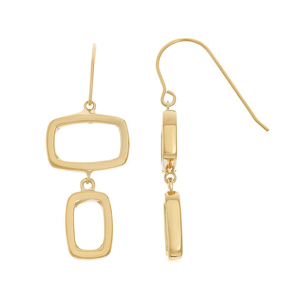 18k Gold Over Silver Geometric Drop Earrings