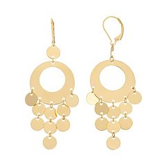 18k Gold Over Silver Circle Chandelier Earrings