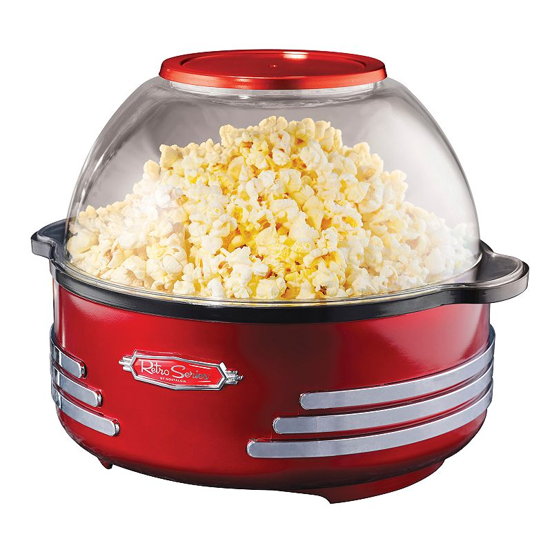Nostalgia Electrics Retro Series Popcorn Maker, Red Make movie nights more fun for everyone with this Nostalgia Electrics popcorn maker. Versatile popcorn maker can be used as a serving bowl. Stirrer helps prevent burnt kernels. Retro design creates a fun, unique look. WHAT'S INCLUDED Measuring spoon Metal, plastic Base: wipe clean Removable parts: hand wash Manufacturer's 1-year limited warrantyFor warranty information please click here 12 H x 11 W x 12 D 24-cup capacity 1000 watts Model no. SP300RETRORED  Size: One Size. Gender: unisex. Age Group: adult.