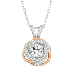 Lab-Created White Sapphire Sterling Silver & 18k Rose Gold Over Silver Love Knot Necklace