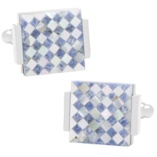 Lapis and Mother-of-Pearl Checkered Cuff Link