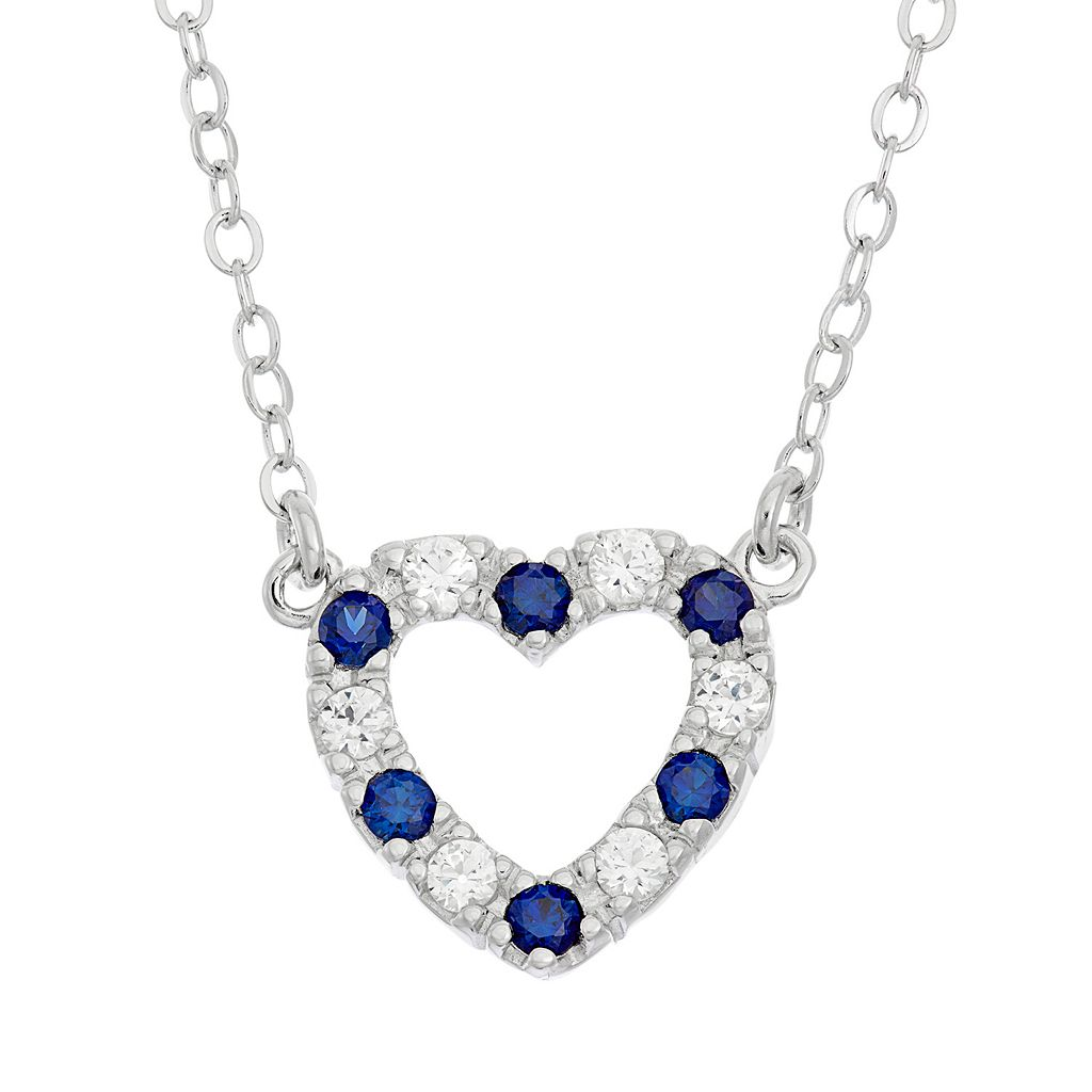 Lab-Created Blue & White Sapphire Sterling Silver Heart Necklace