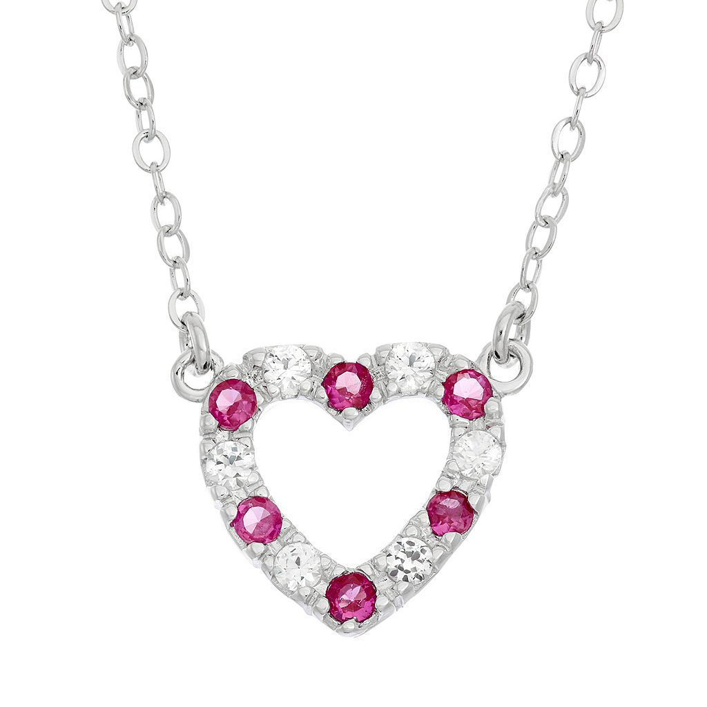 Lab-Created Ruby & Lab-Created White Sapphire Sterling Silver Heart Necklace