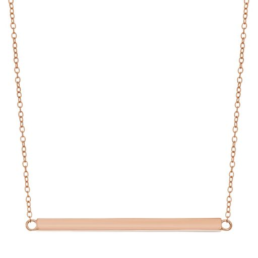 18k Rose Gold Over Silver Bar Necklace