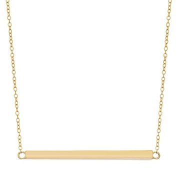 18k Gold Over Silver Bar Necklace