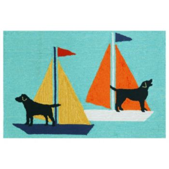 Liora Manne Frontporch Sailing Dogs Indoor Outdoor Rug