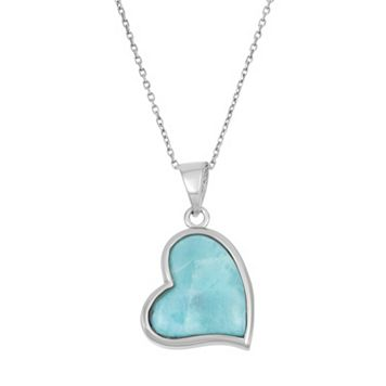 Larimar Sterling Silver Heart Halo Pendant Necklace