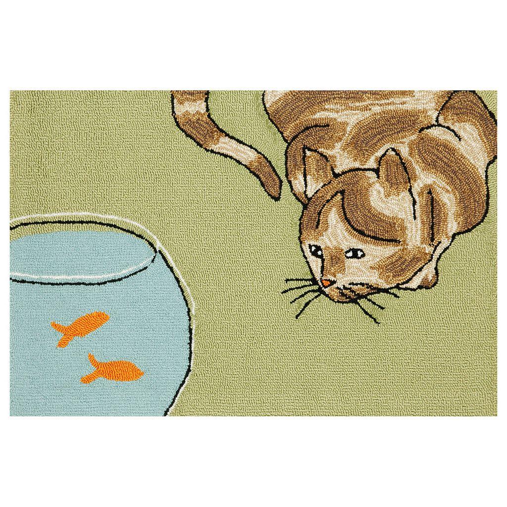 Trans Ocean Imports Liora Manne Frontporch Curious Cat Indoor Outdoor Rug