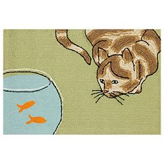 Liora Manne Frontporch Curious Cat Indoor Outdoor Rug