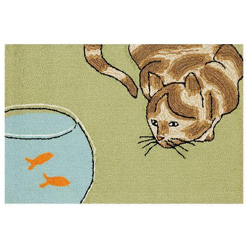 Liora Manne Frontporch Curious Cat Indoor Outdoor Rug