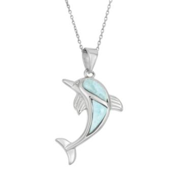 Larimar Sterling Silver Dolphin Pendant Necklace