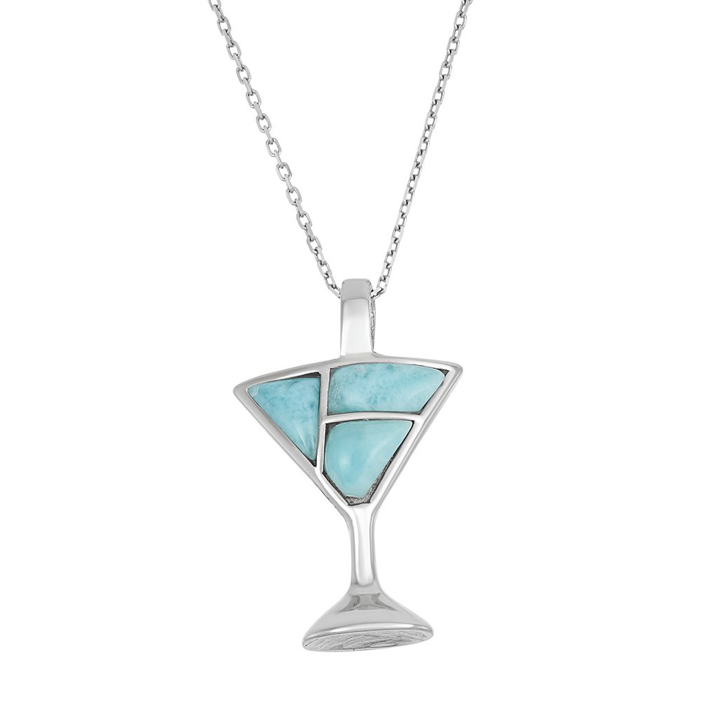 Larimar Sterling Silver Martini Glass Pendant Necklace