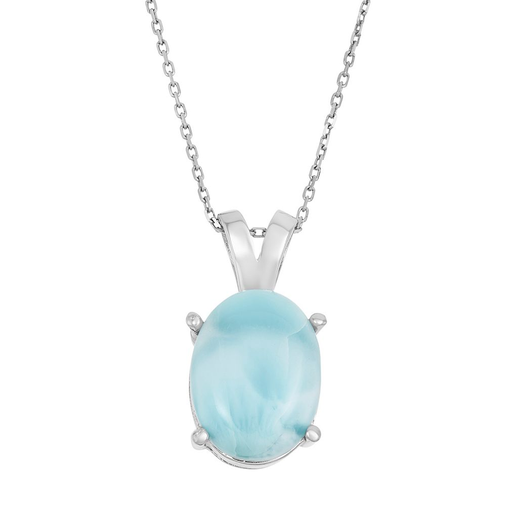 Larimar Sterling Silver Oval Pendant Necklace