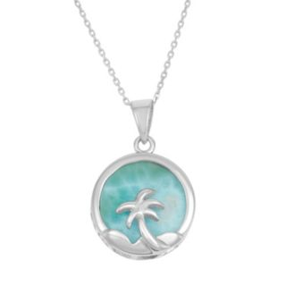 Larimar Sterling Silver Palm Tree Disc Pendant Necklace