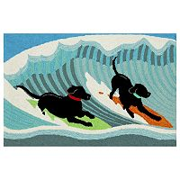 Trans Ocean Imports Liora Manne Frontporch Surfing Dogs Indoor Outdoor Rug