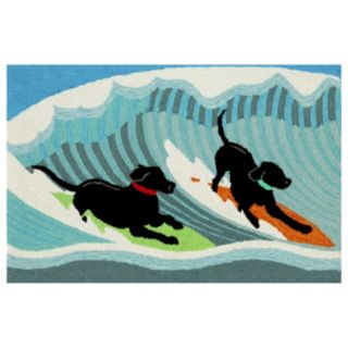 Liora Manne Frontporch Surfing Dogs Indoor Outdoor Rug