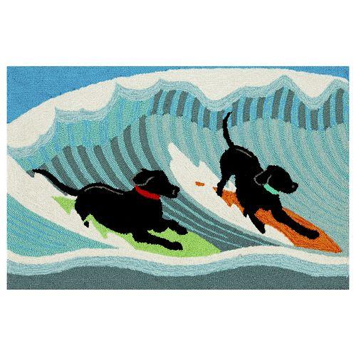 Liora Manne Frontporch Surfing Dogs Indoor Outdoor Rug