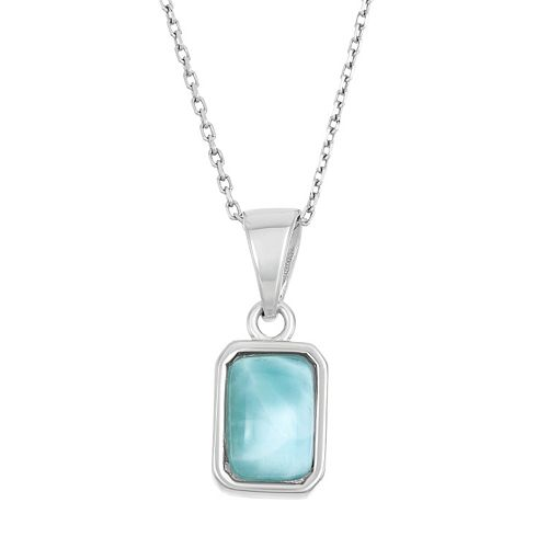 Larimar Sterling Silver Rectangle Halo Pendant Necklace
