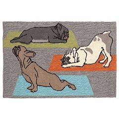 Liora Manne Frontporch Yoga Dogs Indoor Outdoor Rug