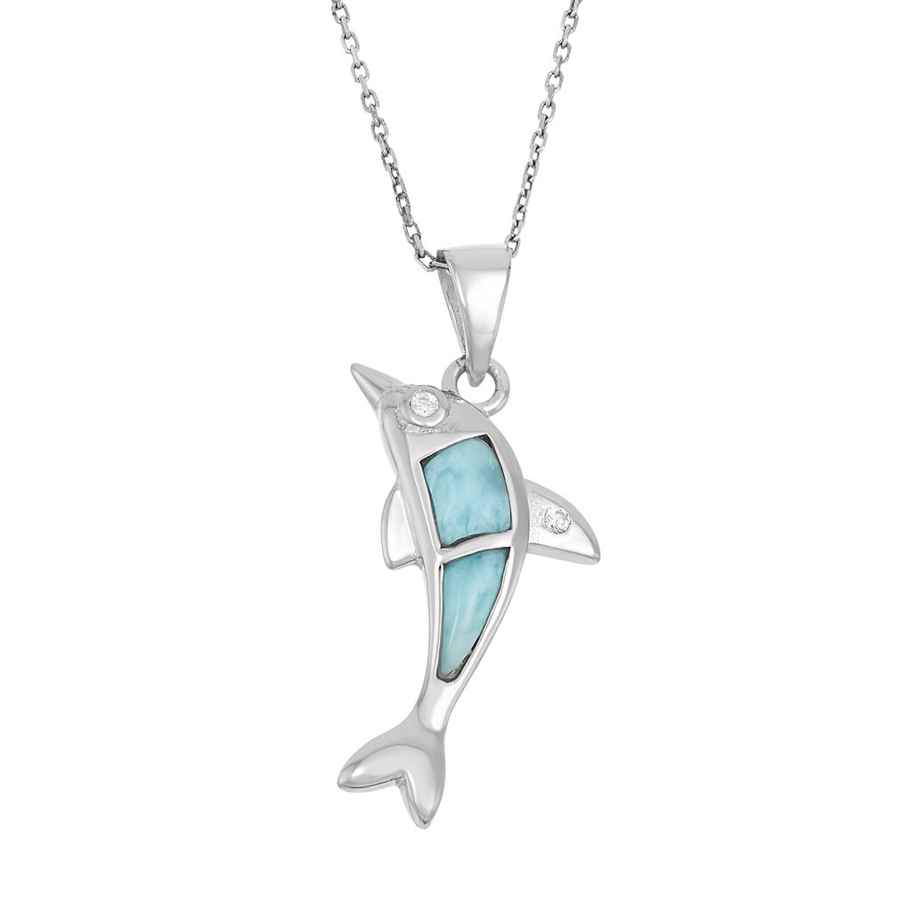 Larimar & Cubic Zirconia Sterling Silver Dolphin Pendant Necklace