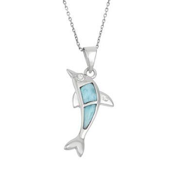 Larimar & Cubic Zirconia Sterling Silver Dolphin Pendant Necklace