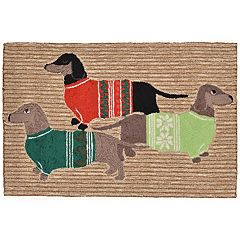 Liora Manne Frontporch Holiday Hounds Indoor Outdoor Rug