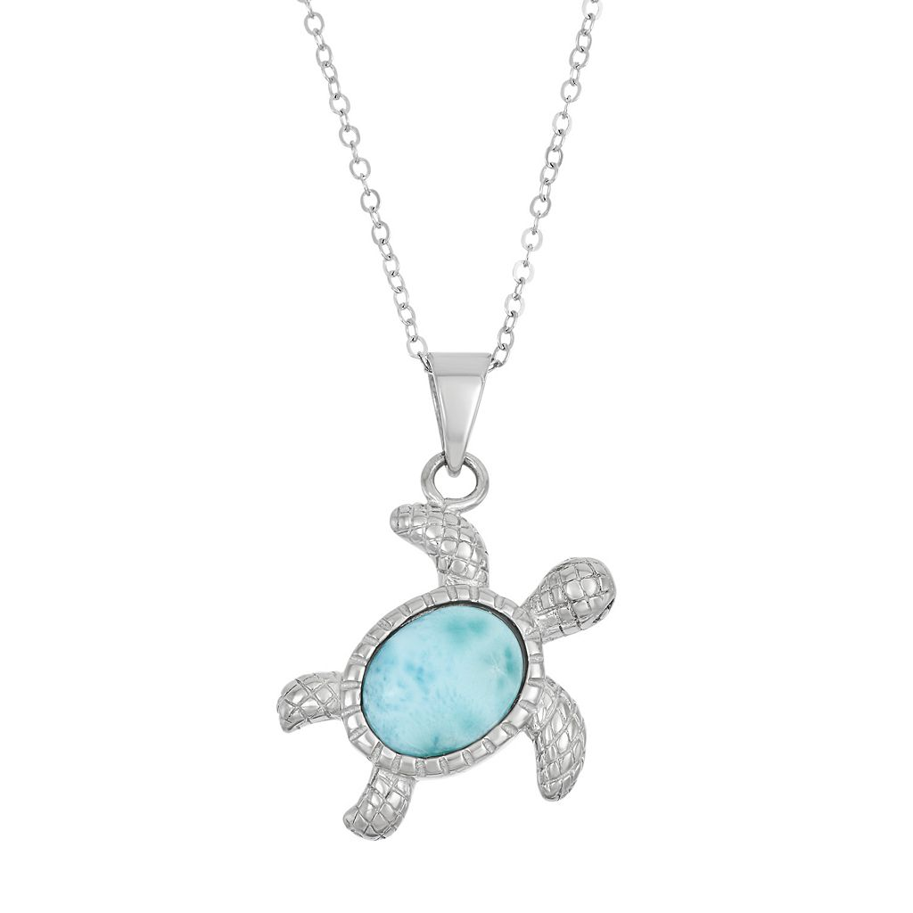 Larimar Sterling Silver Turtle Pendant Necklace