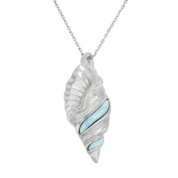 Larimar Sterling Silver Conch Shell Pendant Necklace