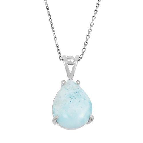 Larimar Sterling Silver Teardrop Pendant Necklace