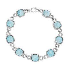 Larimar Sterling Silver Halo Station Bracelet